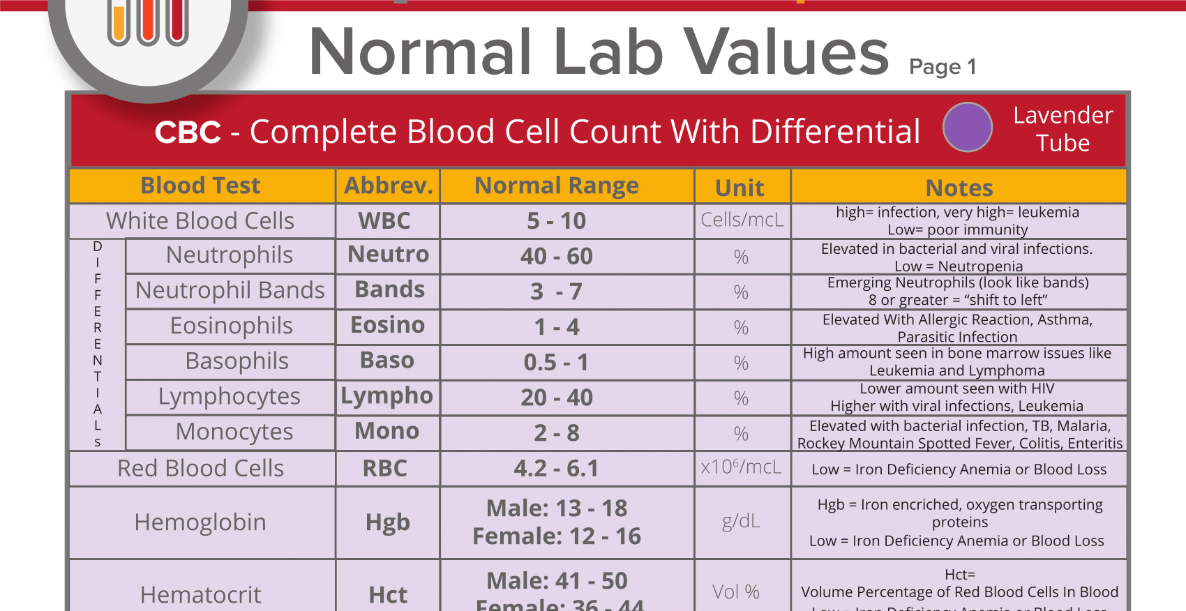 Pediatric Normal Lab Values Interpretation