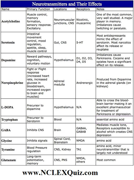 Neurotransmitters And Their Effects Cheat Sheet